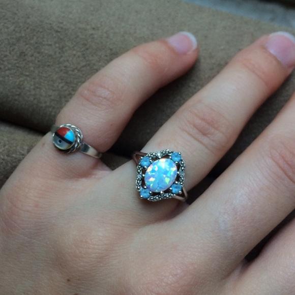 Zales Jewelry | Blue Austrailian Opal And Topaz Size 6 ...