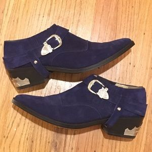 Toga Pulla Shoes - Toga Pulla Blue Suede Ankle Boots