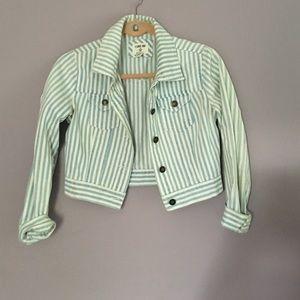 Cropped pin striped jean jacket