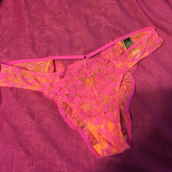 f0268ba511195 LOWEST NWT vs pink orange lace panty large