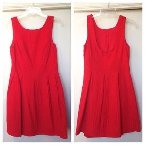 Francesca's Red Pleated Fit & Flare Dress