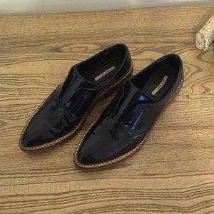 Zara Basic Collection SlipOn navy blue w wood