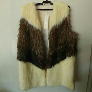 Eternal Sunshine Creations Jackets & Blazers - Chevron Slouchy Faux Fur Vest