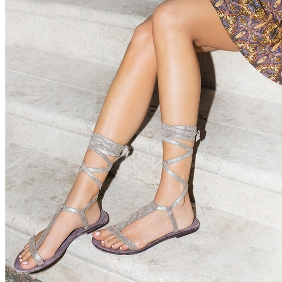 171f4aedb0d Free People Sunkissed Gold Dahlia Lace Up Sandals