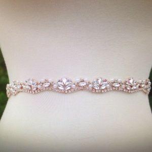 Accessories - Rose gold rhinestone and pearl bridal sash belt.