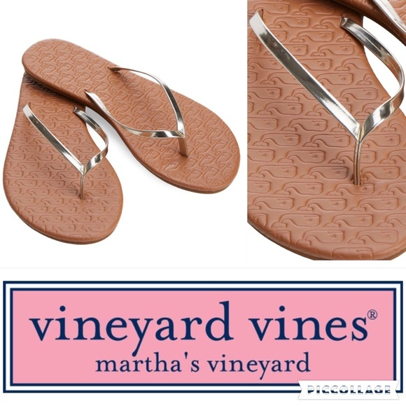 f0d1f3c49637 Vineyard Vines Leather Embossed Whale Flip Flops 9 NWT