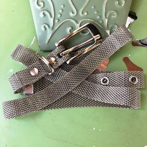 MESH Metal Silver-Toned Vintage Narrow Belt