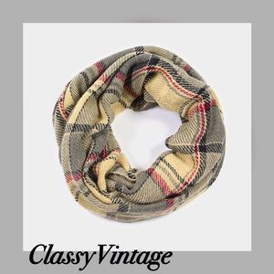 Accessories - Beige plaid infinity scarf