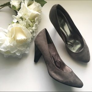 H&M // Faux Suede High Heels - gray