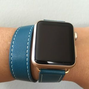 ⭐️GOLD Blue  Double Tour Apple Watch Leather Band