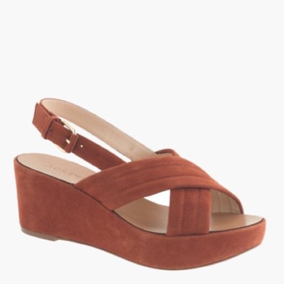 aa048ff0a7a J.CREW SUEDE ORANGE WEDGE platform sandal SZ 8.5