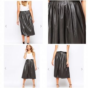 Closet Dresses & Skirts - Closet :: Faux Leather Perforated Midi Skirt ::