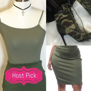 Passion of Essense Dresses & Skirts - ♨️ LAST ONE 3X Olive Knee length Pencil Skirt