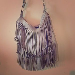 Topshop gray fringe bag