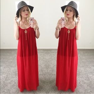 Dresses & Skirts - Red maxi dress sheer sexy long