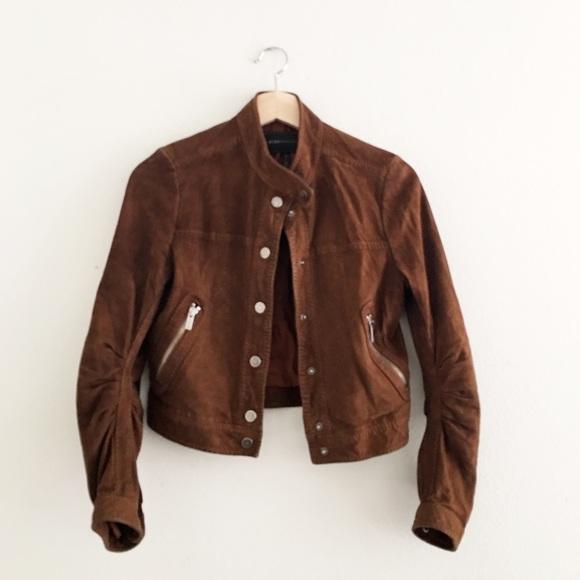 83% off BCBGMaxAzria Jackets & Blazers - BCBGMAXAZRIA Brown Suede ...