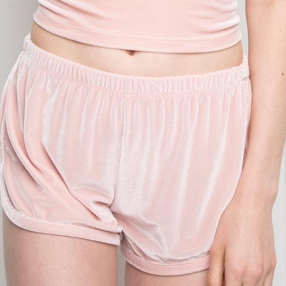 brandy melville pink shorts velvet