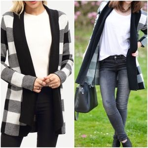 Blk/Wht Plaid Cardigan Sweater. Price firm.