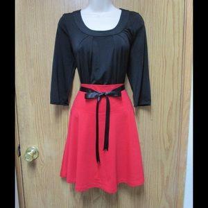 Fancy Red High Waist Skater Skirt W/Belt