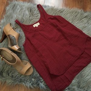 Cloth & Stone Red High-Lo Tank