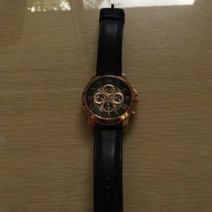 FOSSIL Multi Function Navy Leather Men's Watch