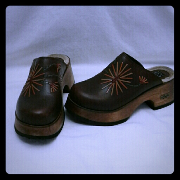Candies Leather And Wooden Clogs