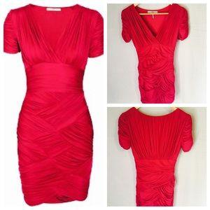 Halston Heritage Ruched Crisscross Dress