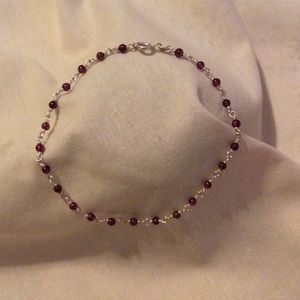 Sterling silver 925 anklet with burgundy beads
