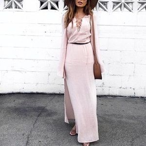 Forever 21 Dresses & Skirts - Dusty Pink Lace Up High Slit Maxi Dress