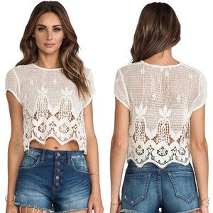 2477273974e Lovers + Friends Tops - Lovers + Friends Zuma Crop Top in Natural Lace