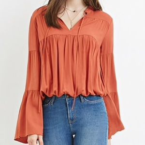 Forever 21 Tops - Rust Bell Sleeve Peasant Top