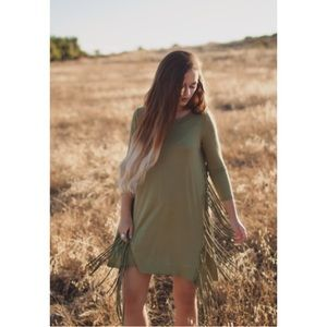 Dresses & Skirts - HP Oliver Fringed Long Sleeve Tunic Dress