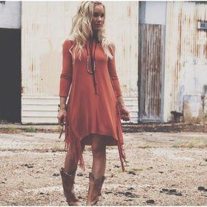 Dresses & Skirts - Raven Fringed Long Sleeve Tunic Dress