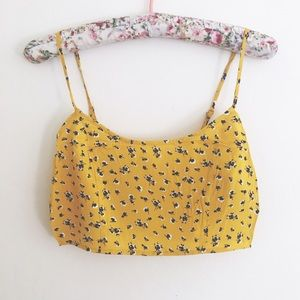 Forever 21 Tops - Ditsy Yellow Floral Crop Cami