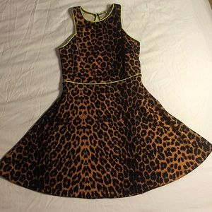 Leopard Print Fit & Flair Scuba Dress