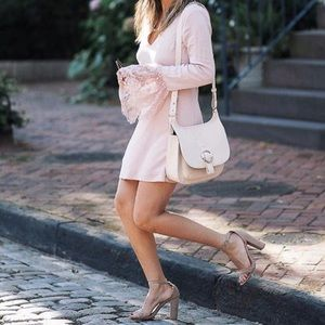 Dusty Mauve Pink Lace Bell Sleeve Dress