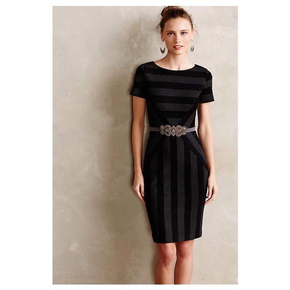 0240b3c7e448a Anthropologie Dresses | Maeve Black Gray Striped Pencil Dress | Poshmark