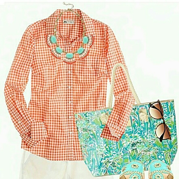57 Off J Crew Tops Nwt J Crew Thomas Mason Orange