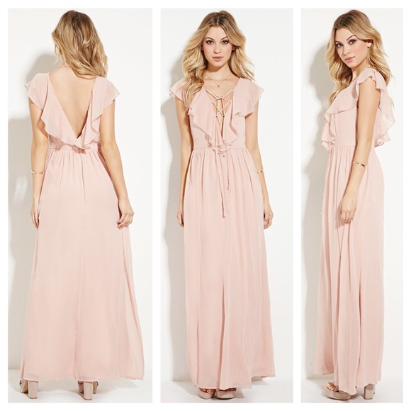 7bfdcb7a7590 Forever 21 Dresses & Skirts - Forever 21 Pink V-Neck Lace Up Maxi Flowy