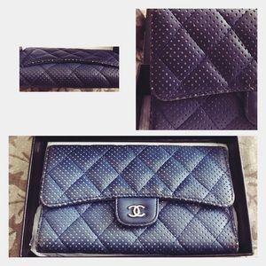 CHANEL Handbags - Chanel Perforated Long Trifold Wallet