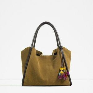 Zara leather suede bucket bag (4012)
