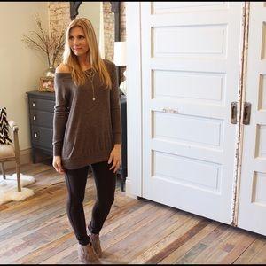 Pants - Dark brown knit jeggings