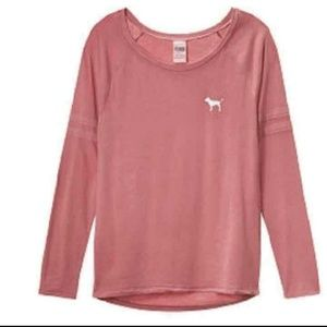 ⤵MOVING SALE⤵ (L)PINK VS Open Neck Long Sleeve Tee