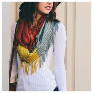 Accessories - Rust, mustard and sage knit colorblock infinity