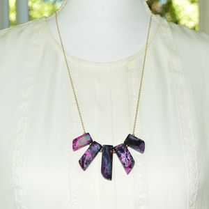 Black & Pink Marble Natural Stone Fan Necklace