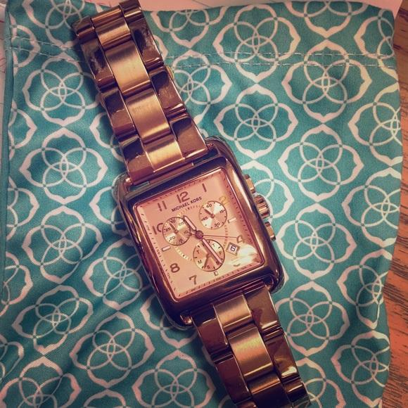 274630f478f5 Rose Gold square face Michael Kors watch. M 57c98a1f36d59482740023fa