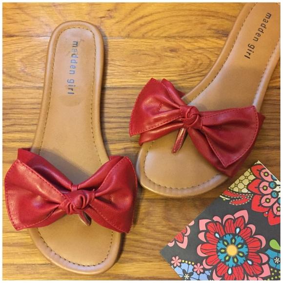 af241ce41c5 Madden Girl Shoes - Steve Madden Girl Red Bow Sandals --- 7.5