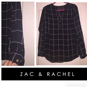 Super cute black & white windowpane blouse