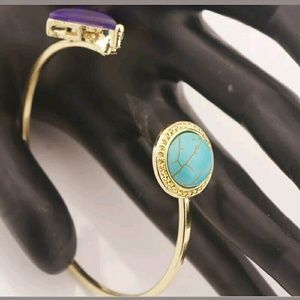 Boho Chic Turquoise and amethyst open cuff