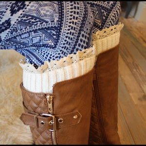 Ivory eyelet lace trim boot cuffs